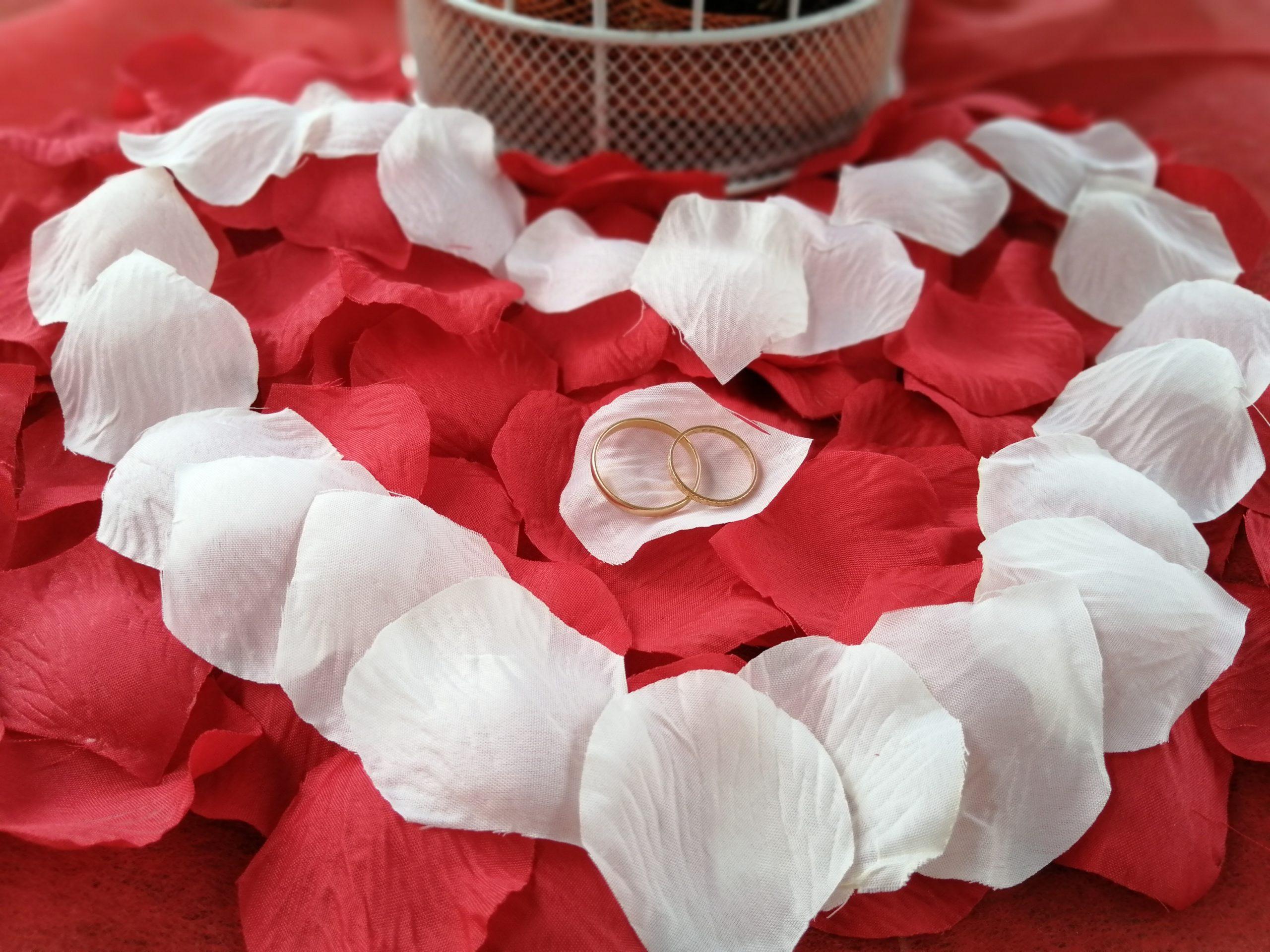Alliances sur pétales de rose rouge formant un coeur en blanc - C&D Events - Wedding planner Oise et Paris